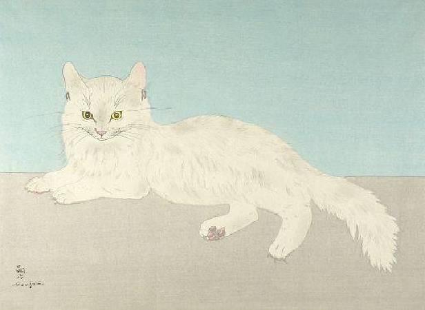 藤田嗣治《白貓》。圖/取自Wikiart.org。