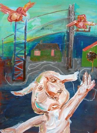 蔡瑞恒《恐怖屋》,2014,壓克力顏料、馬糞紙,80 x 110 cm