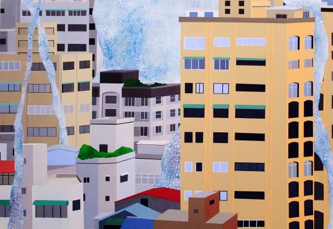 這城市過於正面思考-3 2015年 80×116.5cm 壓克力顏料.墨.畫布