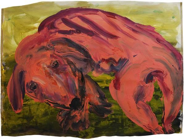 蔡瑞恒《吃手手》,2017,壓克力顏料、畫布,144 x 108 cm
