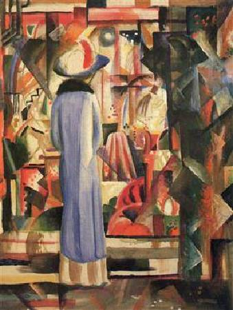 August Macke, Woman in front of a large illuminated window, 圖/取自Wikiart。