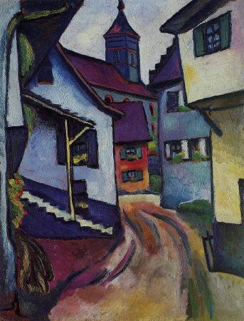 August Macke, Street with church in Kandern, 1911,圖/取自Wikipedia。