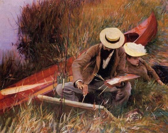 薩金特《保羅•海盧和妻子一起寫生》(Paul Helleu Sketching with His Wife),1889。圖/取自Wikiart。