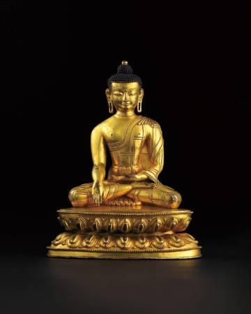 LOT1059 15世紀 銅鎏金釋迦牟尼佛坐像