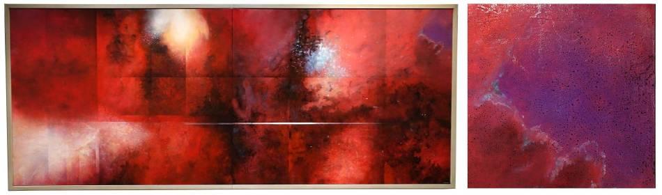 左圖:王建文,觀星者系列II-紅色的海洋,油彩、畫布,2016年;右圖:觀星者系列II-紅色的海洋(局部,一點的希望)。圖/ 非池中藝術網攝