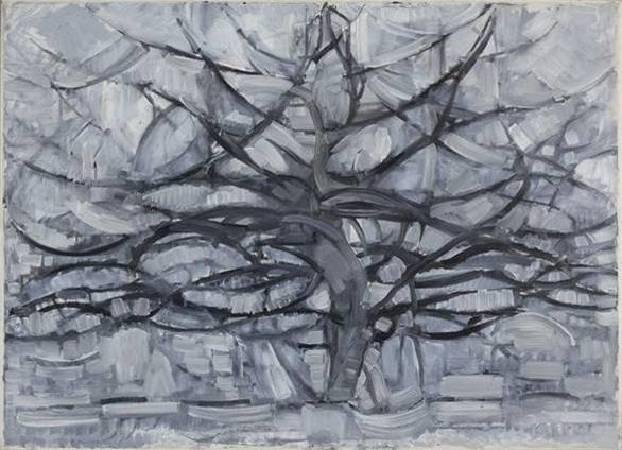 蒙德里安,《灰色的樹》,1911年。圖/取自Wikipedia。