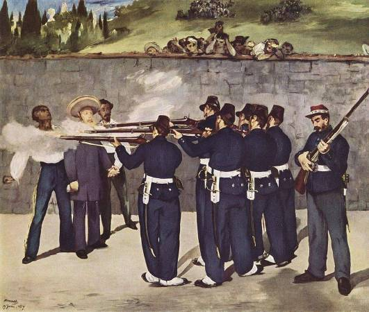 《槍決國王馬克西米連》(The Execution of Emperor Maximilian),1868-69。圖/取自Wikipedia。