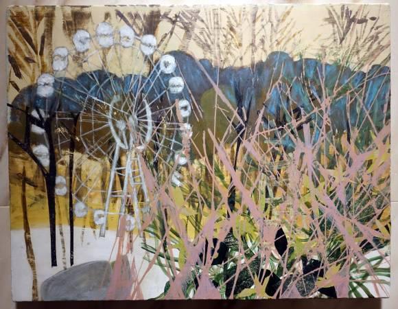 張純敏,荒蕪遊樂園-森林的摩天輪,丙烯、粉彩、畫布,2017年。