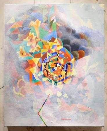 鄭伯君,山城迷霧,油畫,2015年。