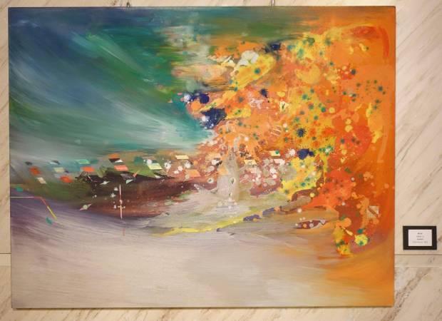 鄭伯君,大肚美人山,油畫,2015年。