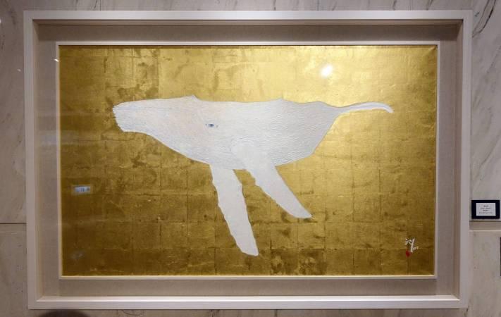 陳沁懋,鯨魚-米迦羅,膠彩紙本,2017年。