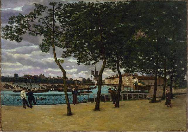 基約曼《塞納河景觀》(View of the Seine, Paris),1871。圖/取自Wikipedia。