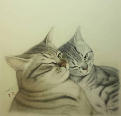 高橋行雄, 撒嬌, 2008年, 66×68cm, 彩色鉛筆.版畫紙 / Yukio Takahashi, Being affectionate ,Colored pencils on Printmaking paper