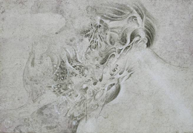 曾詩涵, 記憶光體, 2016年, 15.5×22.5cm, 炭精筆.墨.水彩.麻紙 / TSENG Shih-Han, The Light Body of Memories, 2016, Mixed media on hemp paper