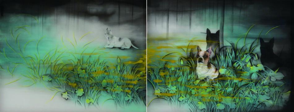 吳惠淳,若葉森林Lleaf Forest,墨、水干、礦物顏料、絹本,2015,84x220cm