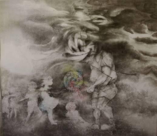 黃郁筑,米奇的甜膩,水墨複媒,2015,90x80cm