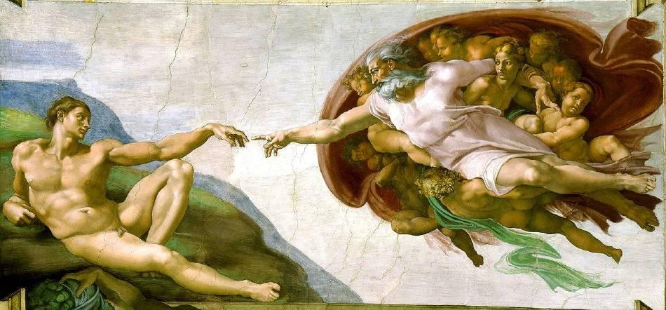 米開朗基羅《上帝製造亞當》(The Creation of Adam ),1510。圖/取自Wikipedia。
