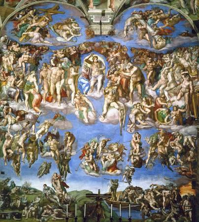 米開朗基羅《最後的審判》(The Last Judgement), 1534-1541。圖/取自Wikipedia。