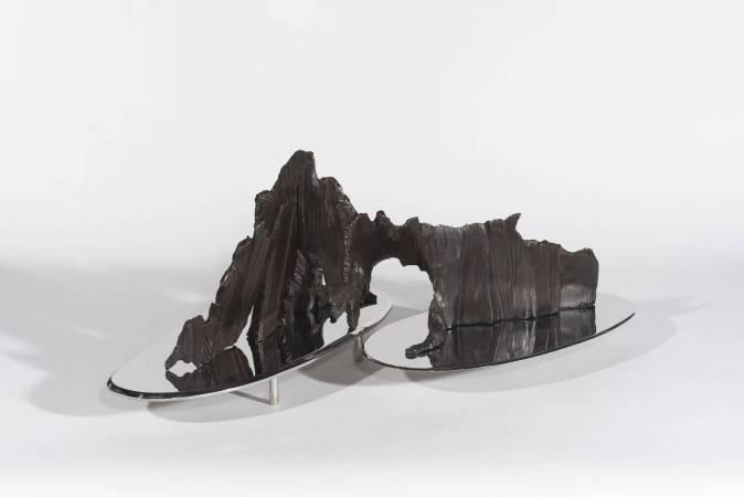宋璽德,山水拓-2,鋼、不鏽鋼、80x45x27cm,2017。