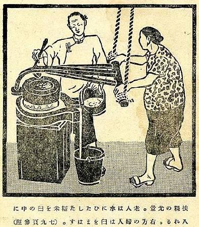 立石鐵臣《挨粿》,出自《台湾の家庭生活》,1944。圖/取自Wikipedia。