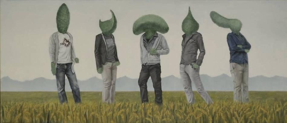 賴聖儒 稻草上的男子團體 30×70cm 2014 油畫