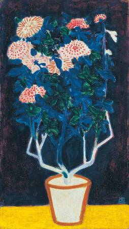 常玉,盆菊,1940s,油彩/纖維板,41.5 x 23.8 cm