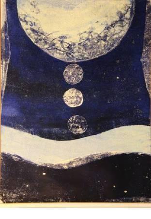 朱為白,天道,1971,油彩、塑膠片、玻璃版,84×67cm。