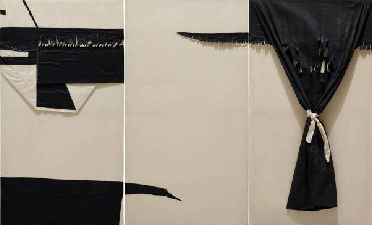 朱為白,無門之簾,1984,棉布 Cotton,185×303cm (triptych)。