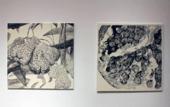 蔡佳葳,《 紀念詩人余光中(1928-2017)-蓮霧(左)、安石榴(右)》,2018。圖/非池中藝術網攝。