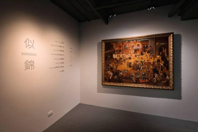 入口展出盧昉具代表性的作品「夜生活」, 164 x 118 cm,油彩畫布,2013 (Lu Fang, Nightlife, 164 x 118 cm, oil on canvas, 2013)