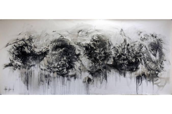 向日葵 │ 炭筆、紙 132 x 302 cm 2017
