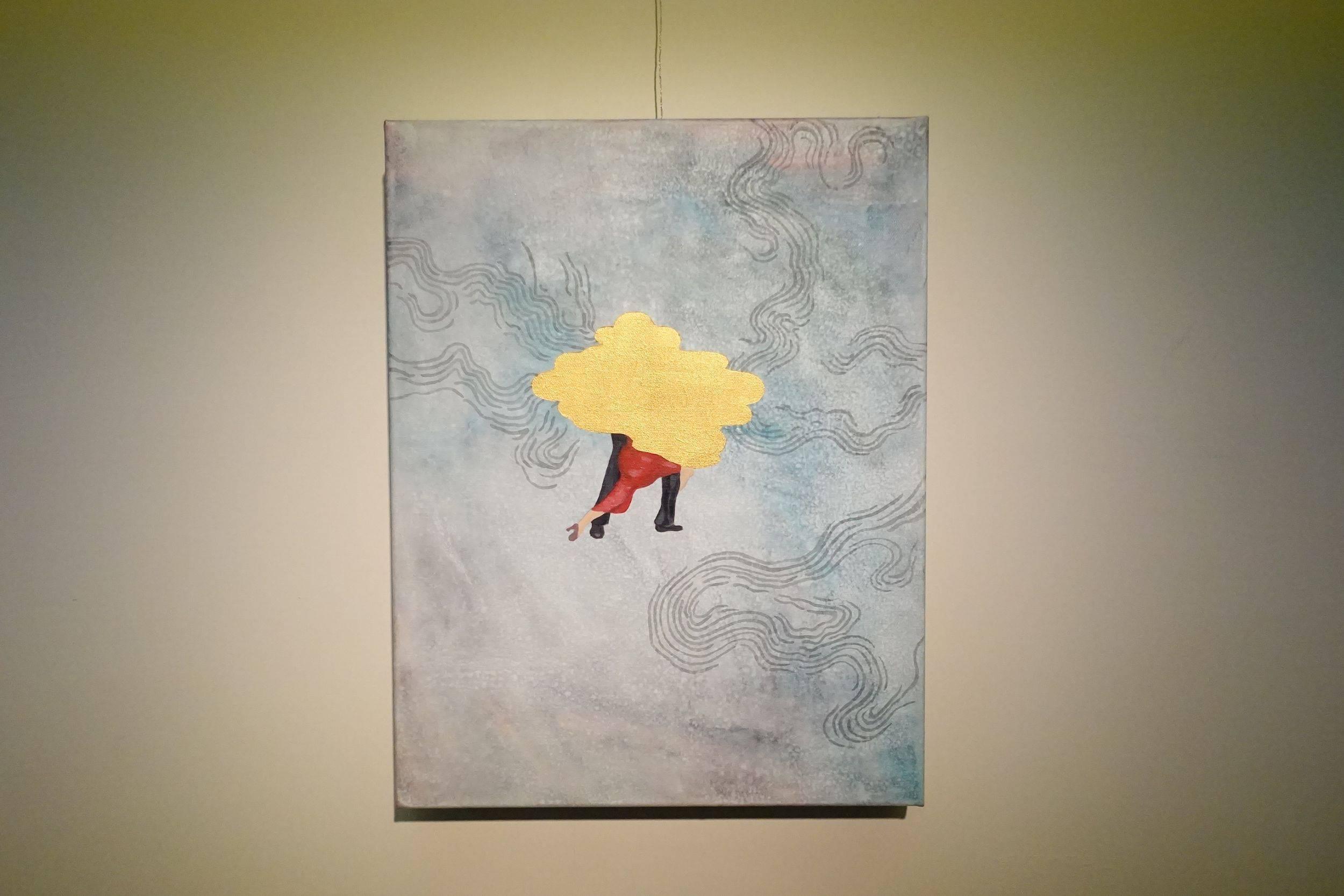 黃法誠,金色雲朵,壓克力顏料.墨.畫布,2017年。