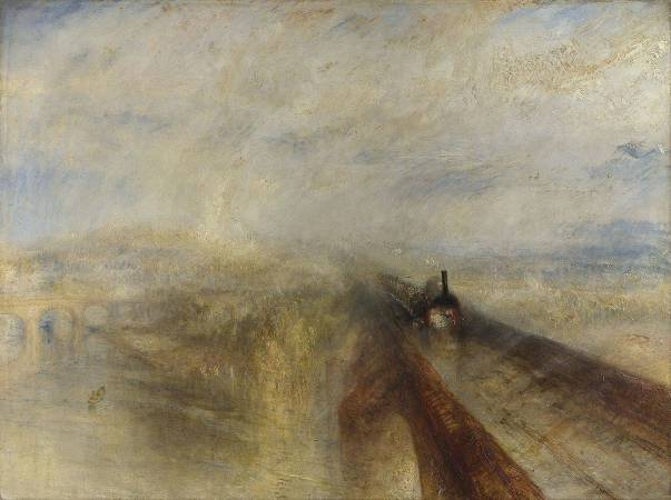 J.M.W.Turner,《Rain, Steam and Speed – The Great Western Railway》,1844。圖/取自Wikipedia。