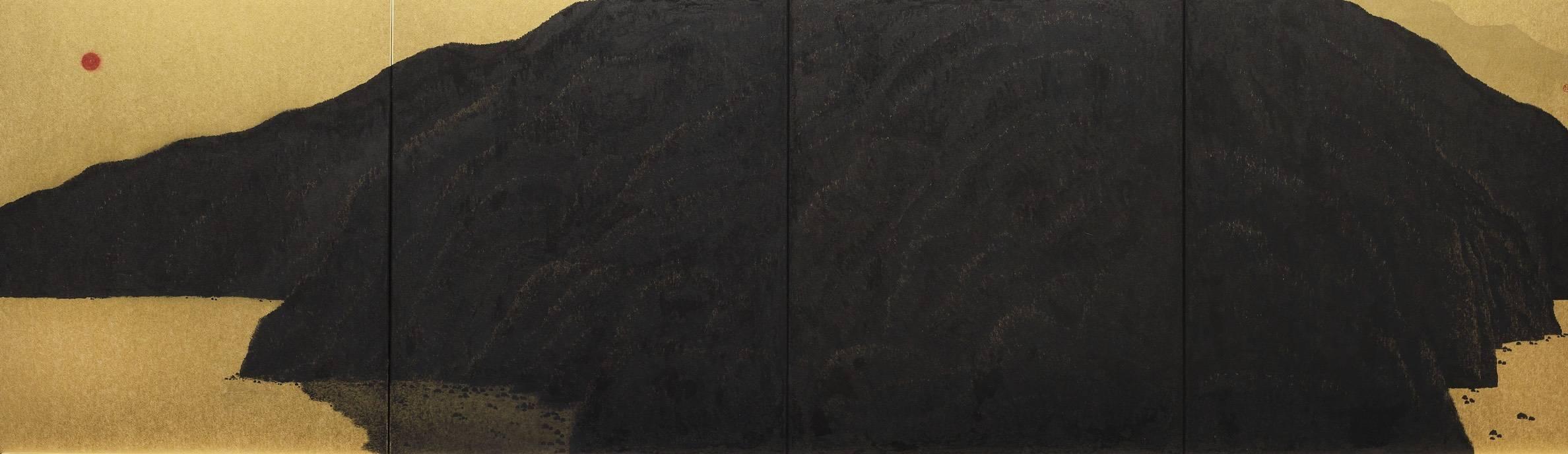 陳仕航,金秋,水墨、紙,52.8x183.2cm,2018年。