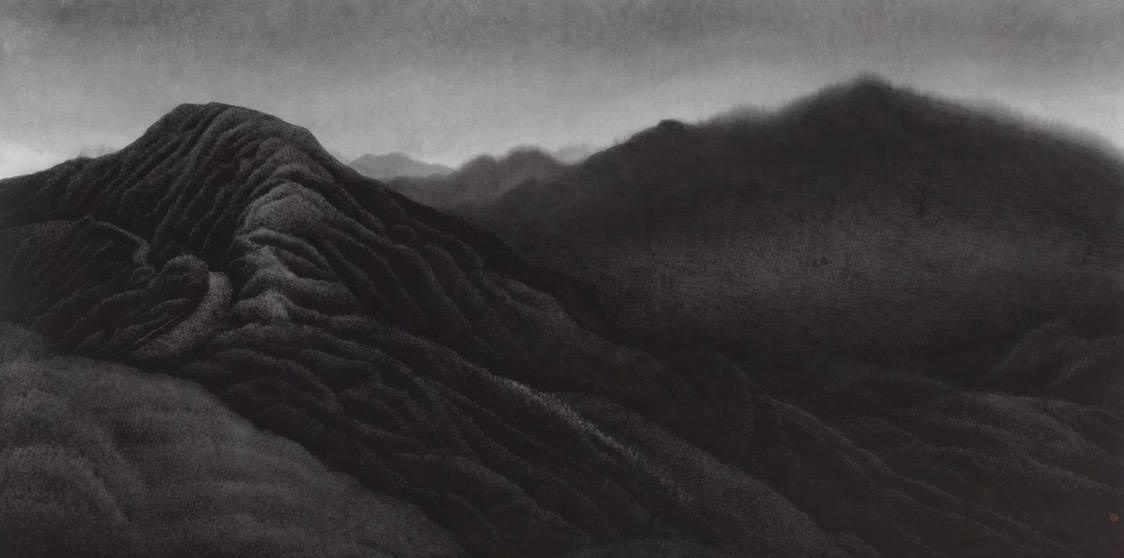 陳仕航,晨起,水墨、紙,68x135cm,2018年。