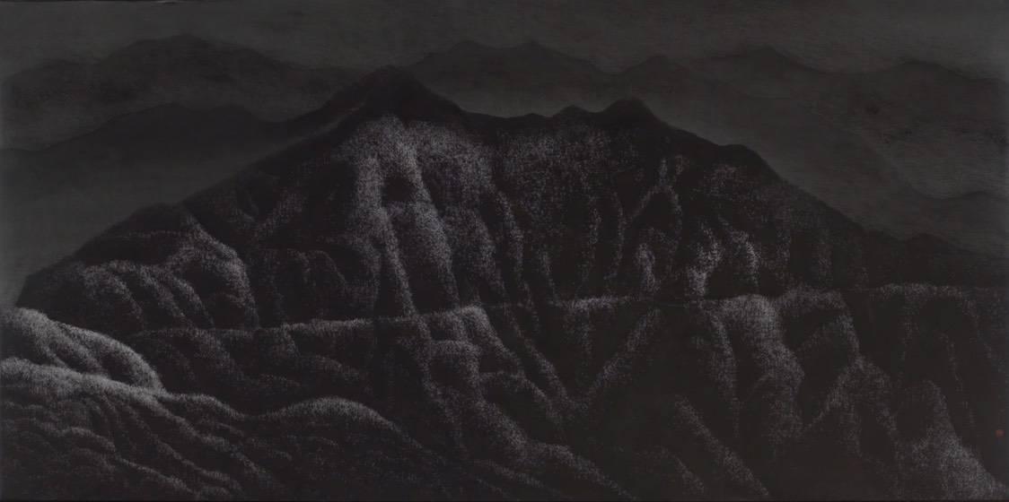 陳仕航,萬壑孤寂,水墨、紙,68x137cm,2018年。