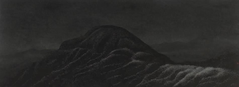 陳仕航,夜曲,水墨、紙,53x143.5cm,2018年。