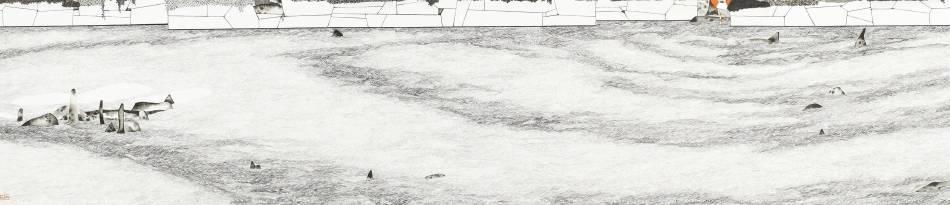 邱亦寧,海上求生須知,水墨、紙,27.7x126cm,2018年。