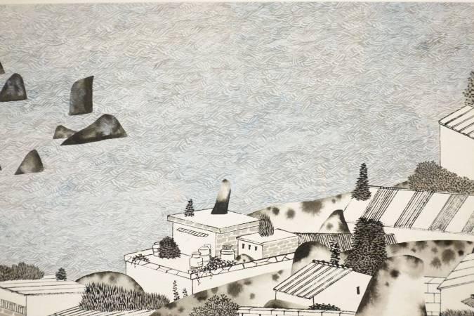 邱亦寧,長島的等待,水墨、紙,15.4x134.7cm,2018年。