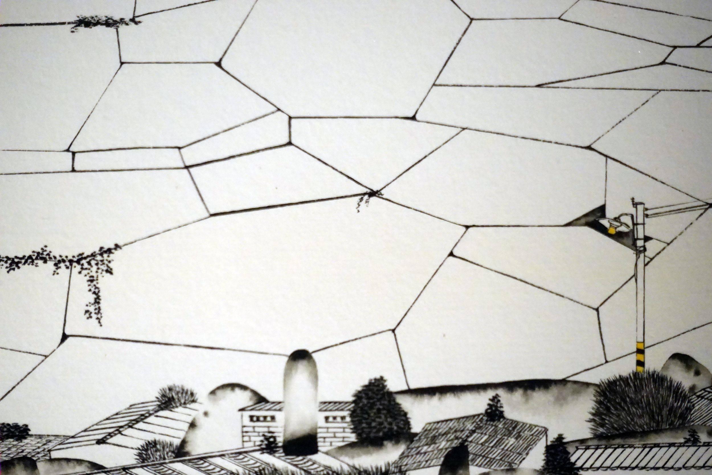邱亦寧,寂寞城市IV,水墨、紙,13.5x86.5cm,2018年。