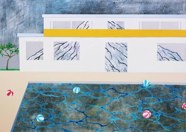 黃法誠, 收藏一座山, 2017年, 65×91cm, 壓克力顏料.炭筆.墨.畫布 / HUANG Fa-Chen, Collect a mountain, 2017, 65×91cm, Mixed media on canvas,