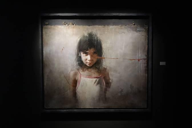 羅展鵬,《祂說:成了》,油彩畫布。圖/非池中藝術網攝。
