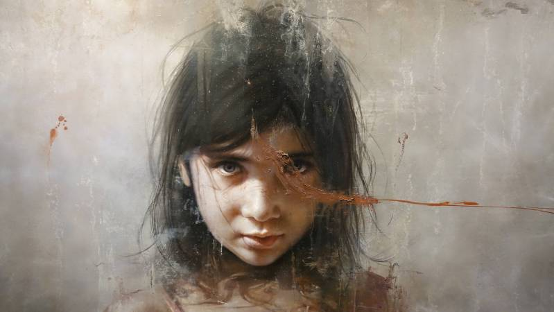 羅展鵬,《祂說:成了》細部,油彩畫布。圖/非池中藝術網攝。