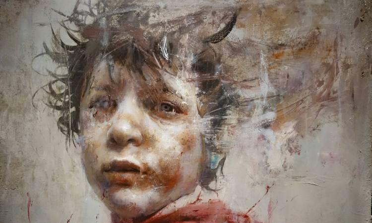 羅展鵬,《敘利亞的紅衣少年》細部,油彩畫布。圖/非池中藝術網攝。