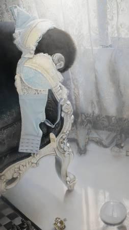 余昇叡,《發光研究(八)解放束縛》細部,油彩木板上畫布。圖/非池中藝術網攝。