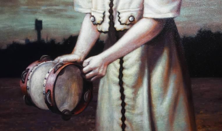 林世雍,《依圖服用5》細部,油彩。圖/非池中藝術網攝。
