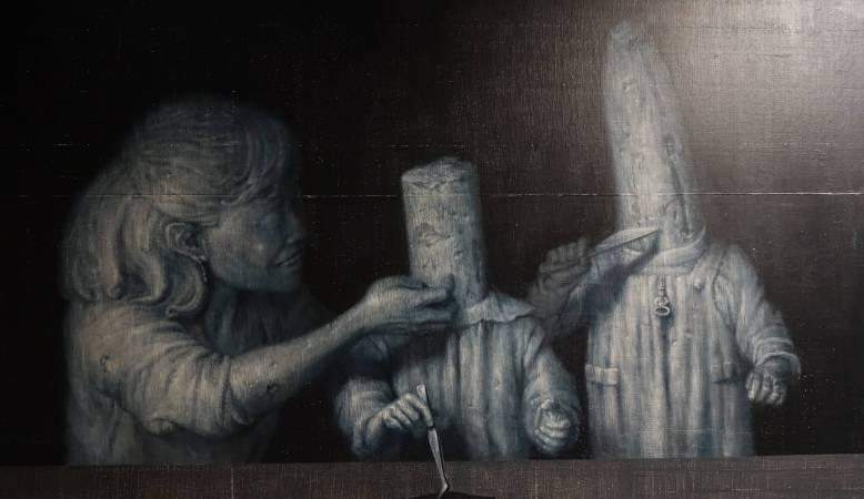 林世雍,《餽食卷4》細部,油彩。圖/非池中藝術網攝。