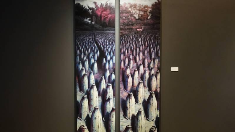 林世雍,《系出同源4》,油彩。圖/非池中藝術網攝。
