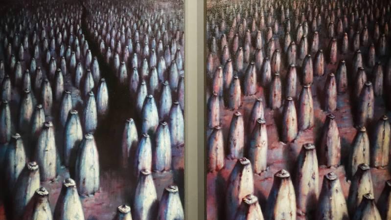 林世雍,《系出同源4》細部,油彩。圖/非池中藝術網攝。