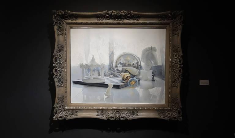 余昇叡,《發光研究(零)回到最初的原點》,油彩木板上畫布。圖/非池中藝術網攝。